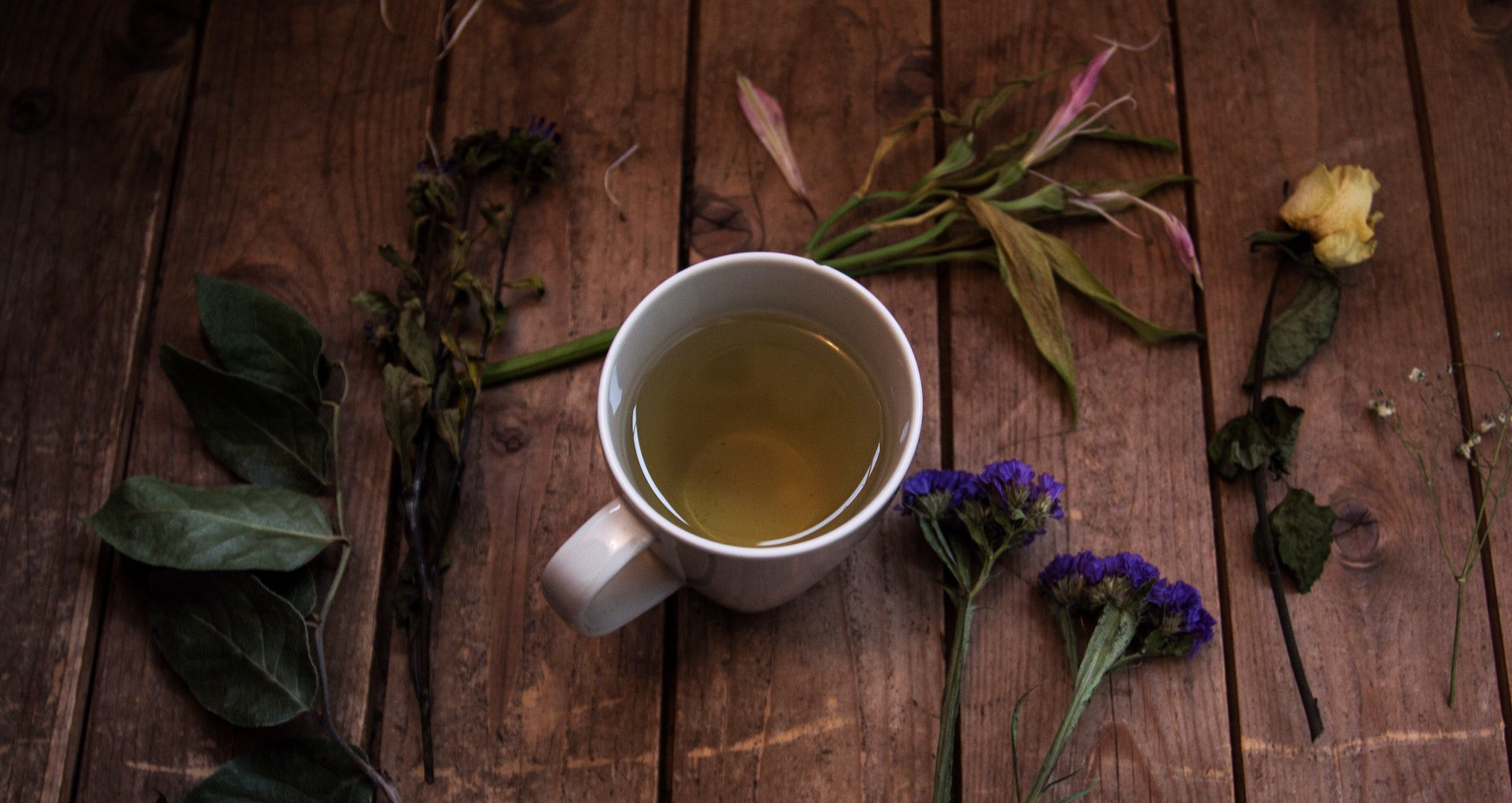 green tea in a mug surrounded by dried flowers on a table