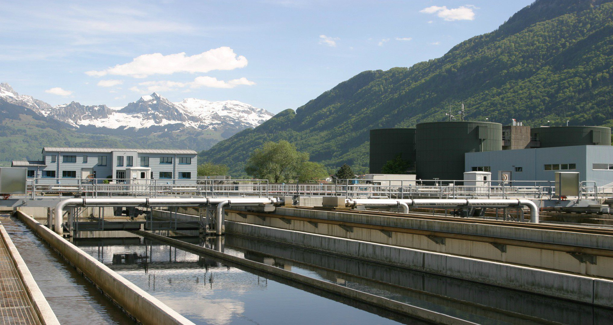 water treatment plant surrounded by mountains