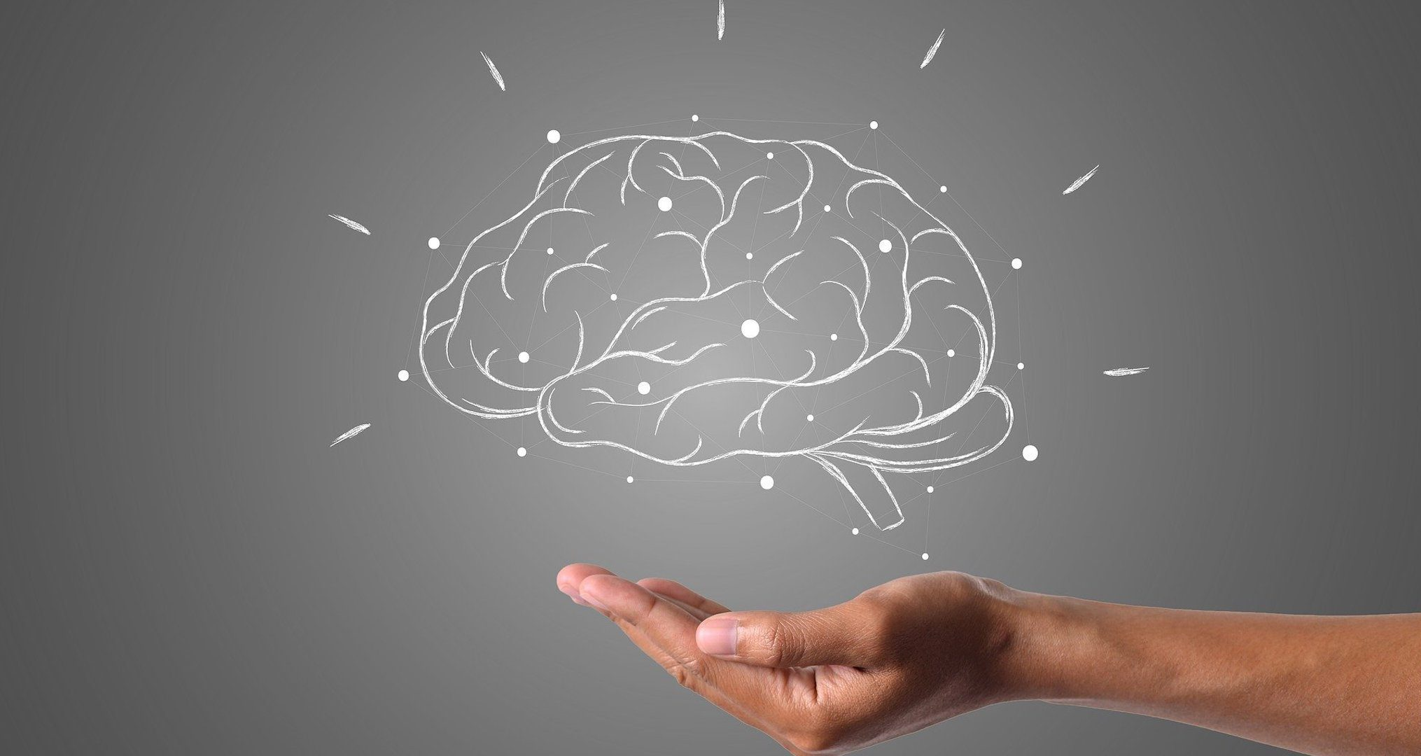 picture of a brain drawn in white chalk with a hand underneath supporting it